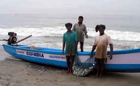 Image of proud fishermen in India