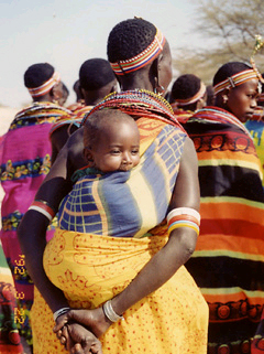 Image of a Kenya Maasai tribe mother and her baby
