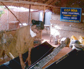 Image of Raveena, once a barber, who now assist in building and repairing boats