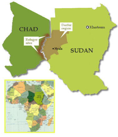 Image of maps of Chad and Sudan