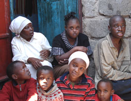 Image of Mary's family after fleeing their home in Nairobi
