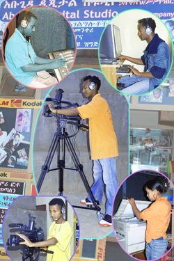 Image of youth working in the Abogida Digital Studio