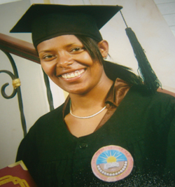 Image of Almaz after her graduation from college.