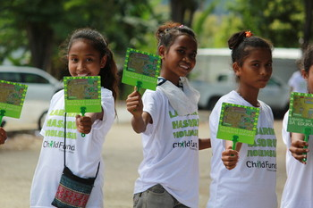 Children Against Violence make their own IEC materials
