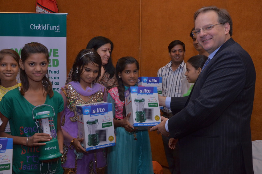 In India ChildFund distributed solar lanterns to children