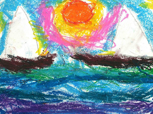 Nimesha's drawing of sailboats. Alison, her sponsor, turns her drawings into printed cards.