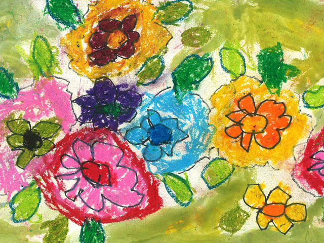 Nimesha loves to make colorful drawings of flowers.