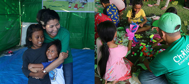 Left: A woman hugs two little girls inside a green emergency tent in Indonesia. Right:A man wearing a ChildFund Emergency Response Staff T-shirt plays blocks with children inside a green emergency tent in Indonesia.