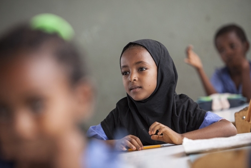 Yerusan, 7, attends a school constructed and supported by ChildFund in Metahara, Ethiopia. Photo by Jake Lyell.